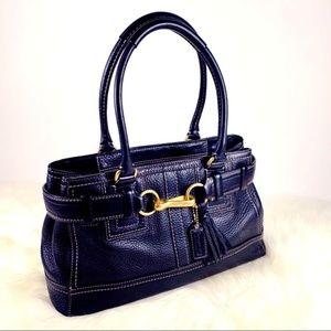 Coach Hampton Pebble Leather Satchel Bag (Black)